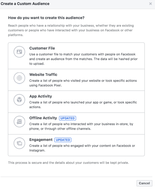 how to create a facebook audience for business and advertising types