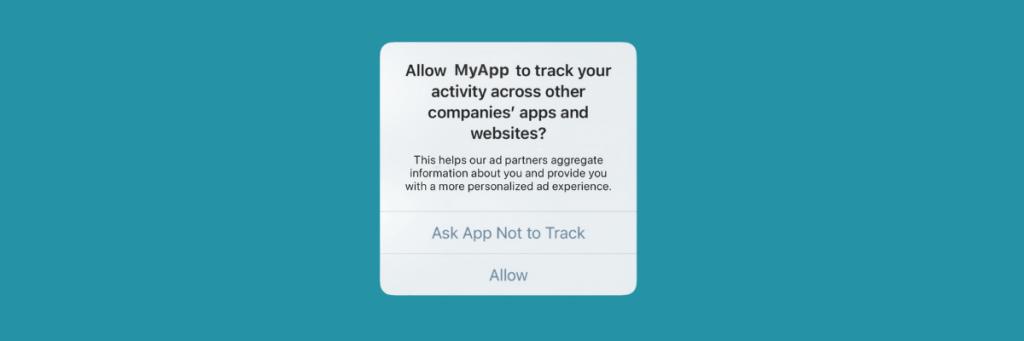 Screenshot of app tracking permissions pop up.